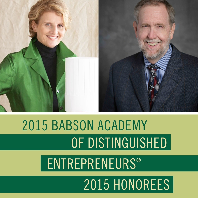 Dorothy Cann Hamilton, Founder and CEO of the International Culinary Center (ICC), and creator and host of Chef's Story, and Doug Rauch, Past President of Trader Joes, Founder of Daily Table, and CEO of Conscious Capitalism Inc., will be inducted into the Academy of Distinguished Entrepreneurs at Babson College on November 12, 2015. (PRNewsFoto/Babson College)